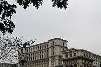 View of the Palace of Parliament in Bucharest.