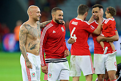LILLE, FRANCE - Friday, July 1, 2016: Wales' David Cotterill and Ashley 'Jazz' Richards celebrates after a 3-1 victory over Belgium and reaching the Semi-Final during the UEFA Euro 2016 Championship Quarter-Final match at the Stade Pierre Mauroy. (Pic by David Rawcliffe/Propaganda)