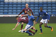 Dan Gardner Oldham Midfielder & Tom Hopper Scunthorpe Forward during the EFL Sky Bet League 1 match between Oldham Athletic and Scunthorpe United at Boundary Park, Oldham, England on 28 October 2017. Photo by George Franks.