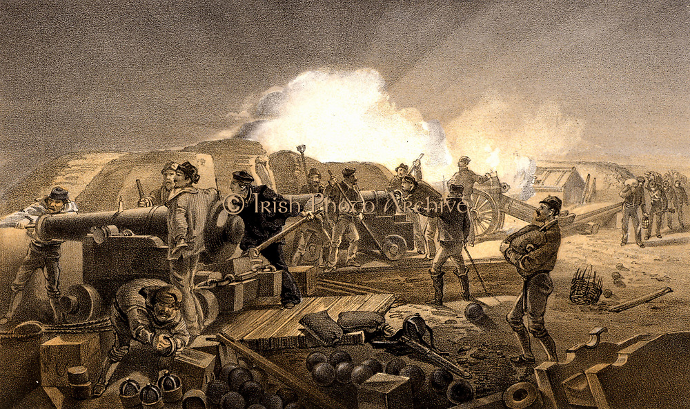 Crimean (Russo-Turkish) War 1853-1856. 'A Hot Day in the Batteries'.  Artillery battery laying siege to Sebastopol.  Sebastopol (Sevastopol) was under siege from October 1854 to 11 September 1855 when it fell to the Allied forces and the Russians retreated.  Tinted lithograph after W Simpson for 'Illustration of the War in the East' (London, 1855-1856).