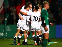 Tom Willis of England U20 is congratulated by team mates  - Mandatory by-line: Ken Sutton/JMP - 01/02/2019 - RUGBY - Irish Independent Park - Cork, Cork - Ireland U20 v England U20 -