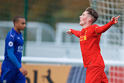 BURTON-UPON-TRENT, ENGLAND - Saturday, December 3, 2016: Liverpool's Harry Wilson celebrates scoring the first goal against Leicester City during the Premier League International Cup match at St. George's Park. (Pic by David Rawcliffe/Propaganda)