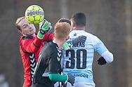 FODBOLD: Tobias Brogaard (AB) griber bolden under træningskampen mellem FC Helsingør og AB den 19. januar 2019 på Snekkersten Idrætscenter. Foto: Claus Birch