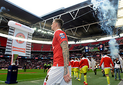 Bristol City walk out on to the Wembley Pitch  - Photo mandatory by-line: Joe Meredith/JMP - Mobile: 07966 386802 - 22/03/2015 - SPORT - Football - London - Wembley Stadium - Bristol City v Walsall - Johnstone Paint Trophy Final