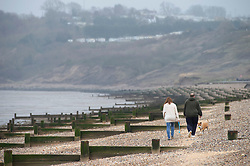 © Licensed to London News Pictures. 28/02/2019. Sheerness-on-Sea, Coats on as people say goodbye to the heatwave and hello to Cooler and cloudier weather today at Sheerness-on-sea at the Kent coast.  Photo credit: Grant Falvey/LNP
