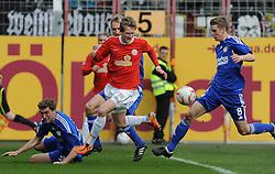 13.03.2011, Bruchwegstadion, Mainz, GER, 1. FBL, FSV Mainz 05 vs Bayer 04  Leverkusen, im Bild vl. Stefan Reinartz (Leverkusen #3), Sami Hyypiae (Leverkusen #4), Andre SCHUERRlE (Mainz GER #14), Lars Bender (Leverkusen #8), EXPA Pictures © 2011, PhotoCredit: EXPA/ nph/  Roth       ****** out of GER / SWE / CRO  / BEL ******