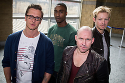 "© Licensed to London News Pictures . 14/04/2014 . Phones 4U Arena , Manchester , UK . L-R Ritchie Neville from Five , Simon Webbe from Blue , Simon "" Spike "" Dawbarn from 911 and Adam Rickitt . Photocall for former boyband stars as part of a reunion tour launch . Photo credit : Joel Goodman/LNP"