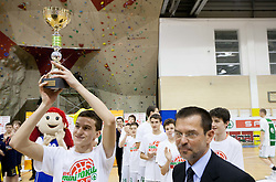Nejc Valic of KK Rudar at U14 Mini Spar Cup ceremony during basketball match between KK Union Olimpija Ljubljana and KK Krka Novo mesto of finals of 11th Slovenian Spar Cup 2012, on February 19, 2012 in Sports hall Brezice,  Brezice, Slovenia. (Photo By Vid Ponikvar / Sportida.com)