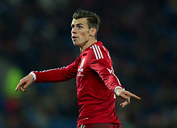 16.11.2013, Cardiff City Stadium, Cardiff, WAL, Fussball Testspiel, Wales vs Finnland, im Bild Wales' Gareth Bale gestures // during the international friendly match between Wales and Finland at the Cardiff City Stadium in Cardiff, Great Britain on 2013/11/17. EXPA Pictures © 2013, PhotoCredit: EXPA/ Propagandaphoto/ Kieran McManus<br /> <br /> *****ATTENTION - OUT of ENG, GBR*****