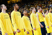 ANN ARBOR, MI - FEBRUARY 5: Trey Burke #3 (center) of the Michigan Wolverines looks on with teammates prior to the game against the Ohio State Buckeyes at Crisler Center in Ann Arbor, Michigan on February 5. Michigan won 76-74. (Photo by Joe Robbins)