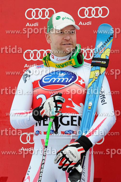 19.01.2013, Lauberhornabfahrt, Wengen, SUI, FIS Weltcup Ski Alpin, Abfahrt, Herren, Podium, im Bild Klaus Kroell (AUT, Platz 2) // celebrate on Podium during mens downhillrace of FIS Ski Alpine World Cup at the Lauberhorn downhill course, Wengen, Switzerland on 2013/01/19. EXPA Pictures © 2013, PhotoCredit: EXPA/ Freshfocus/ Urs Lindt..***** ATTENTION - for AUT, SLO, CRO, SRB, BIH only *****