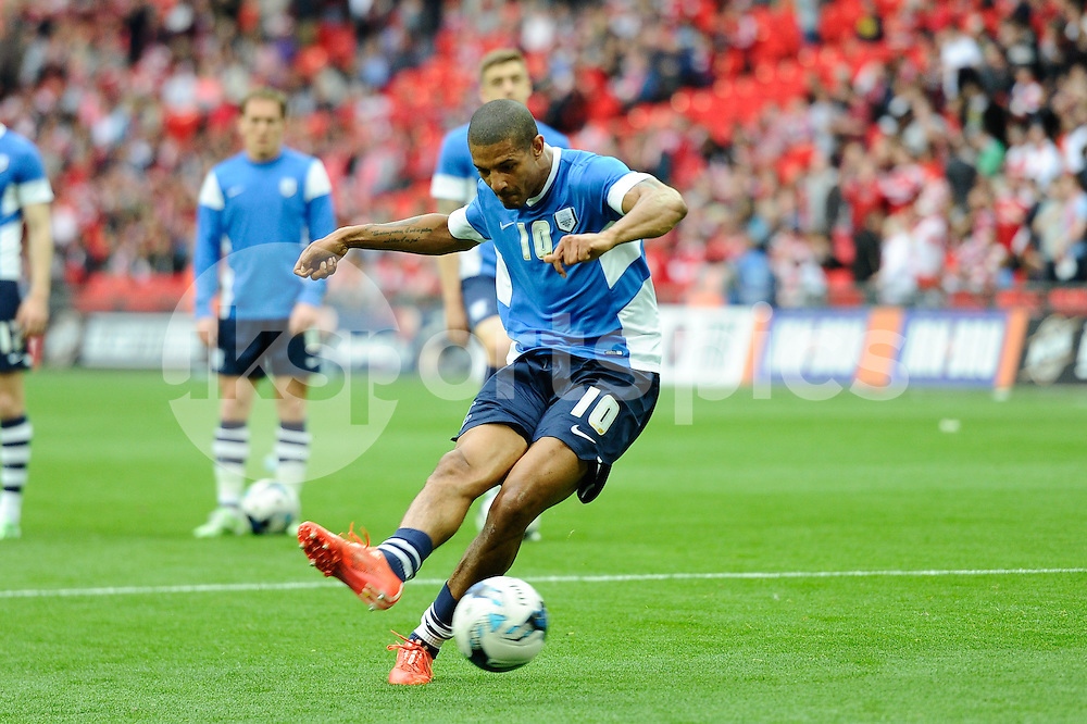 Jermaine Beckford of Preston North End before the Sky Bet League 1 Play-Off Final match between Preston North End and Swindon Town at Wembley Stadium, London, England on 24 May 2015. Photo by Salvio Calabrese.