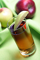 Close up of glass with apple juice