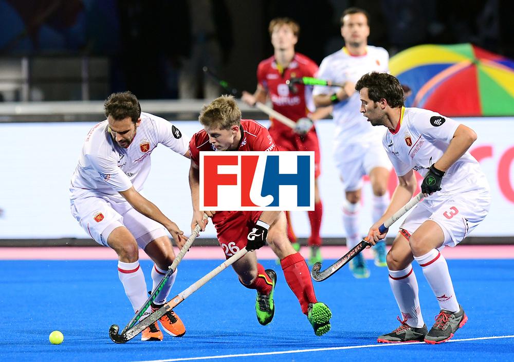Odisha Men's Hockey World League Final Bhubaneswar 2017<br /> Match id:18<br /> Belgium v Spain<br /> Foto: Victor Wegnez (Bel) in dual with Marc Garcia (Esp) <br /> COPYRIGHT WORLDSPORTPICS FRANK UIJLENBROEK