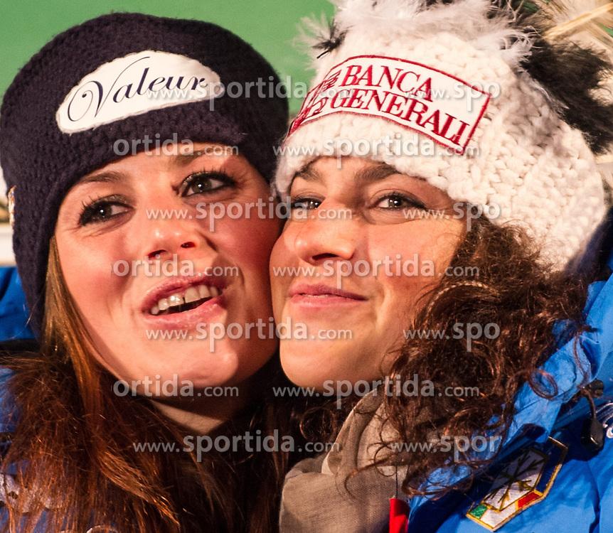 28.12.2013, Hauptplatz, Lienz, AUT, FIS Weltcup Ski Alpin, Lienz, Damen, Siegerehrung Riesentorlauf mit anschließender Auslosung der Startnummern fuer Slalom, im Bild Nadia Fanchini (ITA) und Federica Brignone (ITA) // during the victory ceremony of the giant slalom and the bip draw for slalom, Lienz FIS Ski Alpine World Cup at Hautpplatz in Lienz, Austria on 2013/12/28, EXPA Pictures © 2013 PhotoCredit: EXPA/ Michael Gruber