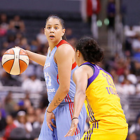 08 August 2014: Atlanta Dream guard Shoni Schimmel (23) looks to pass the ball past Los Angeles Sparks guard Kristi Toliver (20) during the Los Angeles Sparks 80-77 overtime win over the Atlanta Dream, at the Staples Center, Los Angeles, California, USA.