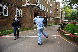 © Licensed to London News Pictures. 19/05/2016. London, UK. Police and forensics at the scene of a murder at the Maitland Park Estate in Hampstead, North London, where the body of a woman in her 40s was found.  Photo credit: Ben Cawthra/LNP