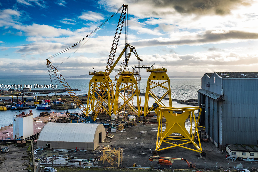 View of Burntisland Fabrications yard at Burntisland in Fife , Scotland, UK. They fabricate platforms and modules for the offshore oil, gas and renewable industries.