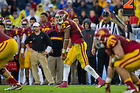 17 October 2012: Wide receiver (2) Robert Woods of the USC Trojans lines up against the UCLA Bruins during the second half of UCLA's 38-28 victory over USC at the Rose Bowl in Pasadena, CA.