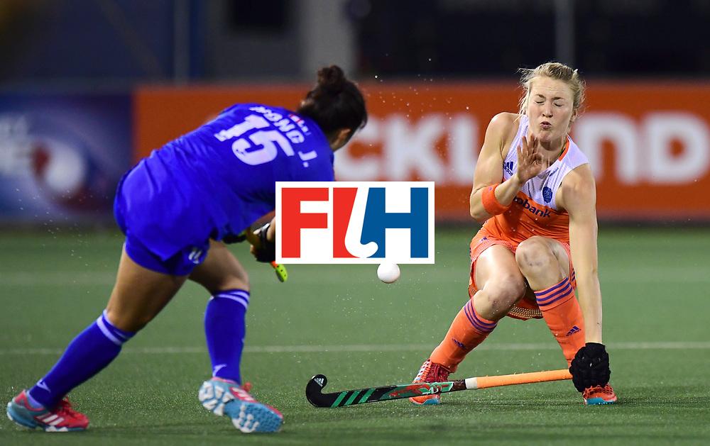 AUCKLAND - Sentinel Hockey World League final women<br /> Match id:<br /> 18 NED v KOR (Semi Final)<br /> Foto: Ireen van den Assem  and Ji Seon Hong  <br /> WORLDSPORTPICS COPYRIGHT FRANK UIJLENBROEK