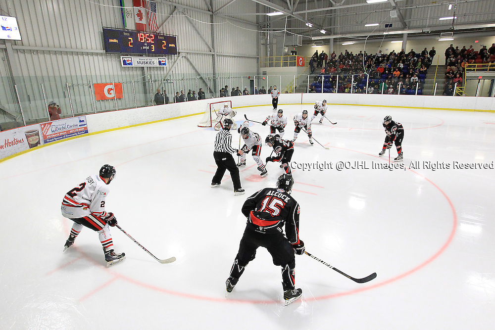 FORT FRANCES, ON - Apr 29, 2015 : Central Canadian Junior &quot;A&quot; Championship, game action between the Fort Frances Lakers and the Soo Thunderbirds game four of the Dudley Hewitt Cup. <br /> (Photo by Tim Bates / OJHL Images)