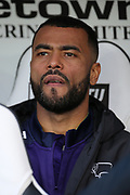 Derby County defender Ashley Cole on the bench during the EFL Sky Bet Championship match between Derby County and Hull City at the Pride Park, Derby, England on 9 February 2019.