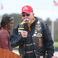 Roger Barrett, a Vietnam Veteran and member of the Patriot Guard, led the Pledge of Allegiance Saturday at Veterans Park during the Operation Grateful Nation