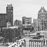 Austin skyline black and white panorama photo. Austin, TX is a major city in the Southwestern United States of America. Panoramic picture ratio is 1:3 and was taken in 2016.