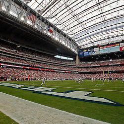 October 10, 2010; Houston, TX USA; A general view of action during the first half of a game between the Houston Texans and the New York Giants at Reliant Stadium. Mandatory Credit: Derick E. Hingle