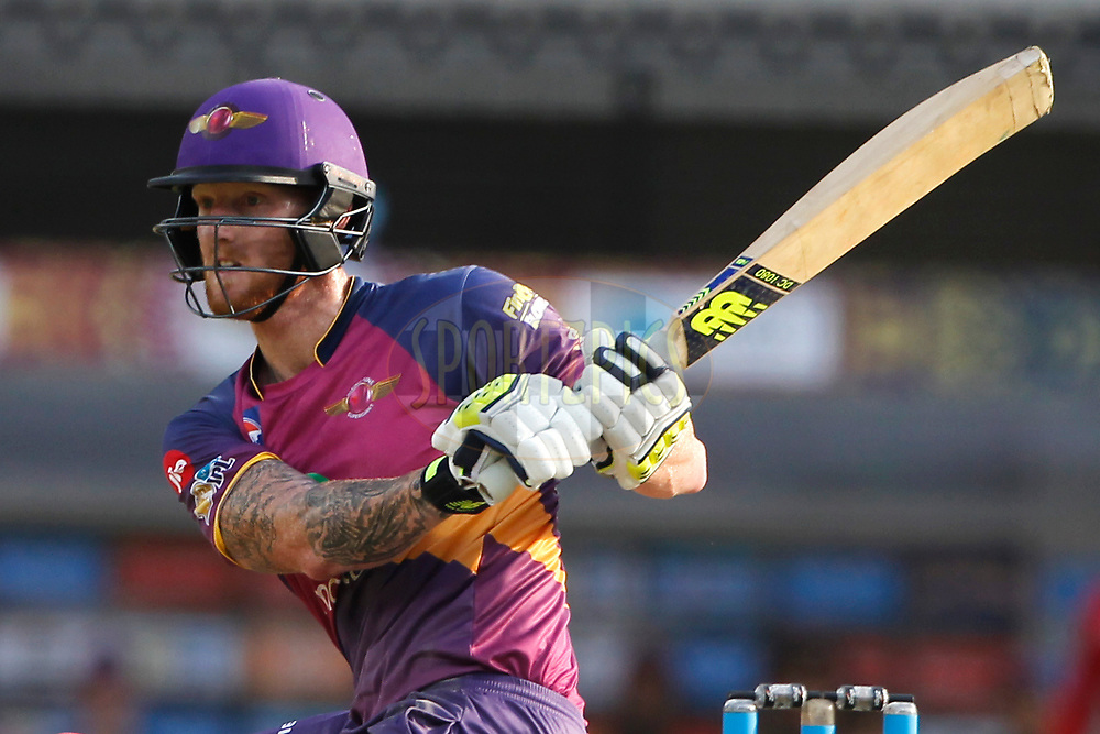 Ben Stokes of Rising Pune Supergiant bats during match 4 of the Vivo 2017 Indian Premier League between the Kings X1 Punjab and the rising Pune Supergiant held at the Holkar Cricket Stadium in Indore, India on the 8th April 2017<br /> <br /> Photo by Deepak Malik - IPL - Sportzpics