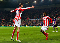 Stoke City's Peter Crouch celebrates after scoring the equaliser 1-1 - Photo mandatory by-line: Matt McNulty/JMP - Mobile: 07966 386802 - 11/02/2015 - SPORT - Football - Stoke - Britannia Stadium - Stoke City v Manchester City - Barclays Premier League