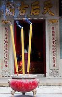 Incense burns outside Tin Hau temple, Hong Kong