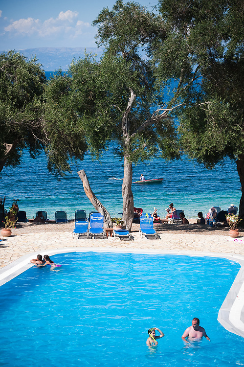 The swimming pool at Bastas family beach- bar and taverna in Manadendri beach, Paxoi Manadendri beach, Paxoi, Greece