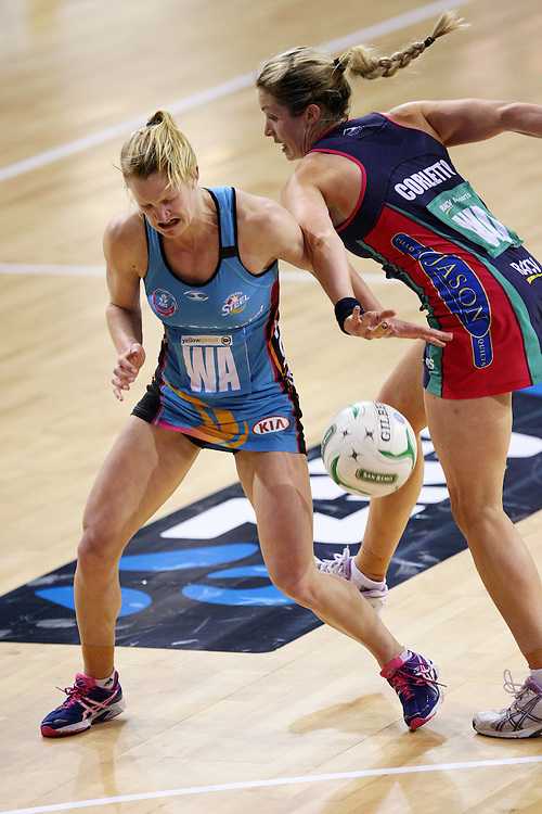 Steels Shannon Francois, left, and Vixens Julie Corletto compete for the ball in the ANZ Championship netball match at Invercargill Velodrome, Invercargill, New Zealand, Saturday, June 30, 2012. Credit:SNPA / Dianne Manson