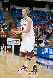 March 29, 2010; Sacramento, CA, USA; Stanford Cardinal forward Kayla Pedersen (14) during the first half against the Xavier Musketeers in the finals of the Sacramental regional in the 2010 NCAA womens basketball tournament at ARCO Arena. Stanford defeated Xavier 55-53.