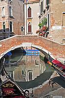 Beautiful picturesque scene of the Ponte S. Maria Nova in Venice, Italy.