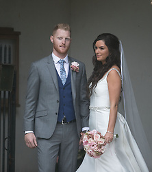 England all-rounder Ben Stokes and his newly married wife Clare, outside St Mary the Virgin, East Brent, Somerset.