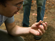 Ohio University student Daniel Williams examines what appears to be a bone fragment at Archaeology Field School. Photo by Ben Siegel