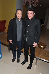 Left to right, JEREMY HARDY and MATHEW HORNE at an after show party following the opening night of All New People held at the St.Martin's Lane Hotel, London on 28th February 2012.