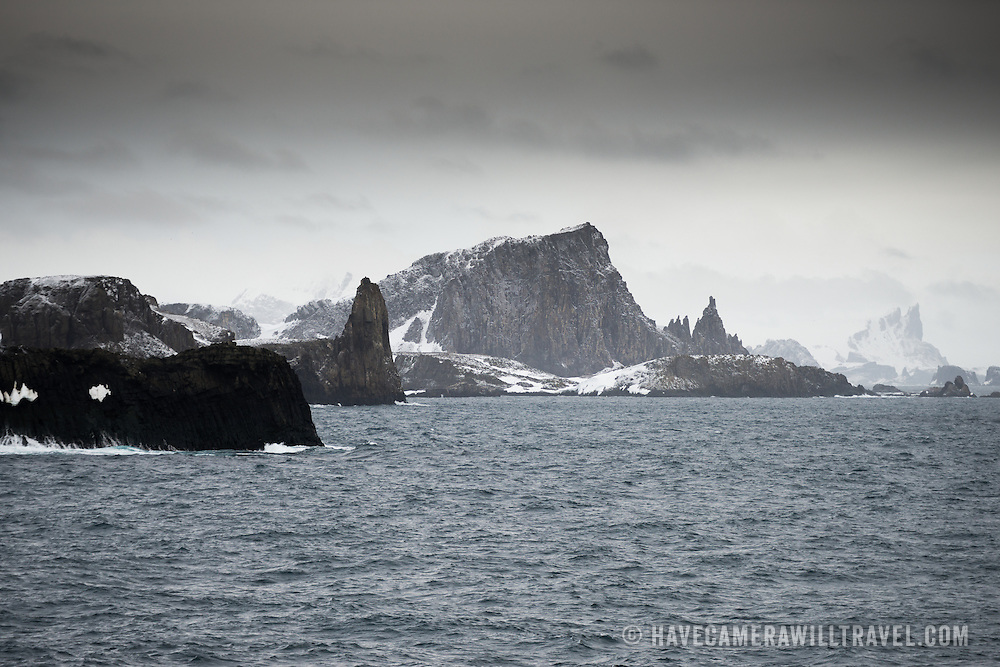 The rugged landscape of the South Shetland Islands along English Strait and Robert Island just off the Antarctic Peninsula.