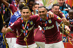 May 27, 2019 - London, England, United Kingdom - Anwar El Ghazi (22) of Aston Villa and Ahmed Elmohamady (27) of Aston Villa during the Sky Bet Championship match between Aston Villa and Derby County at Wembley Stadium, London on Monday 27th May 2019. (Credit: Jon Hobley | MI News) (Credit Image: © Mi News/NurPhoto via ZUMA Press)