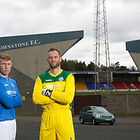 David Wotherspoon and Alan Mannus, St Johnstone FC, pictured at McDiarmid Park...20.04.15<br /> <br /> Picture by Graeme Hart.<br /> Copyright Perthshire Picture Agency<br /> Tel: 01738 623350  Mobile: 07990 594431