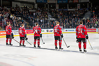 KELOWNA, CANADA - MARCH 9:  Kaedan Korczak #6, Michael Farren #16, Kyle Topping #24, Ted Brennan #10 and Schael Higson #21 of the Kelowna Rockets stand on the blue line as the starting line up against the Kamloops Blazers on March 9, 2019 at Prospera Place in Kelowna, British Columbia, Canada.  (Photo by Marissa Baecker/Shoot the Breeze)