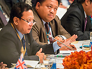 "29 MAY 2015 - BANGKOK, THAILAND: HTIN LYNN, Special Representative of the Myanmar Ministry of Foreign Affairs, addresses the ""Special Meeting on Irregular Migration in the Indian Ocean."" Myanmar opposes efforts by others to label the Rohingya, an ethnic minority from Myanmar, as an oppressed minority. Myanmar insists the Rohingya, who are overwhelmingly Muslim, are undocumented immigrants and is trying to expel them from Myanmar. Thailand organized and hosted the meeting at the Anantara Siam Hotel in Bangkok. The meeting brought together representatives from the 5 countries impacted by the boat people exodus: Thailand, Malaysia and Indonesia, which have all received boat people, and Myanmar (Burma) and Bangladesh, where they are coming from. Non-governmental organizations, like the International Organization for Migration (IOM) and UN High Commissioner for Refugees (UNHCR) as well as countries responding to the crisis, like the United States, also attended the meeting. A total of 22 organizations attended the one day conference.      PHOTO BY JACK KURTZ"