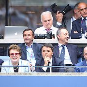 Billie Jean King with  Italian Prime Minister Matteo Renzi watching Flavia Pennetta's  victory over Roberta Vinci Italy, in the Women's Singles Final match during the US Open Tennis Tournament, Flushing, New York, USA. 12th September 2015. Photo Tim Clayton