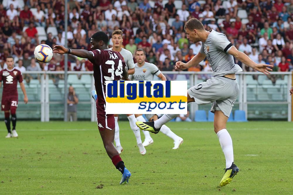 Gol Edin Dzeko Roma 0-1 Goal celebration <br /> Torino 19-08-2018 Stadio Olimpico Grande Torino <br /> Football Calcio Serie A 2018/2019 Torino - Roma Foto Gino Mancini / Insidefoto