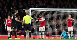 LONDON, ENGLAND - Thursday, December 5, 2019: Arsenal's Alexandre Lacazette appeals to the referee after Brighton & Hove Albion score the opening goal during the FA Premier League match between Arsenal FC and Brighton & Hove Albion FC at the Emirates Stadium. (Pic by Vegard Grott/Propaganda)