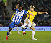 Brighton's Kazenga LuaLua and Derby County's Jamie Ward battle during the Sky Bet Championship match between Brighton and Hove Albion and Derby County at the American Express Community Stadium, Brighton and Hove, England on 3 March 2015. Photo by Phil Duncan.