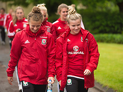CARDIFF, WALES - Friday, August 19, 2016: Wales' Bronwen Thomas and Hannah Miles during a pre-match walk at the Vale Resort ahead of the international friendly match against Republic of Ireland. (Pic by Laura Malkin/Propaganda)