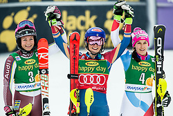 "Second placed Frida Hansdotter (SWE), winner Mikaela Shiffrin (USA) and third placed Wendy Holdener (SUI) celebrate after the 2nd Run of the FIS Alpine Ski World Cup 2017/18 7th Ladies' Slalom race named ""Golden Fox 2018"", on January 7, 2018 in Podkoren, Kranjska Gora, Slovenia. Photo by Ziga Zupan / Sportida"